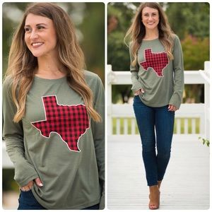 Olive Long Sleeve Top With Buffalo Plaid Texas